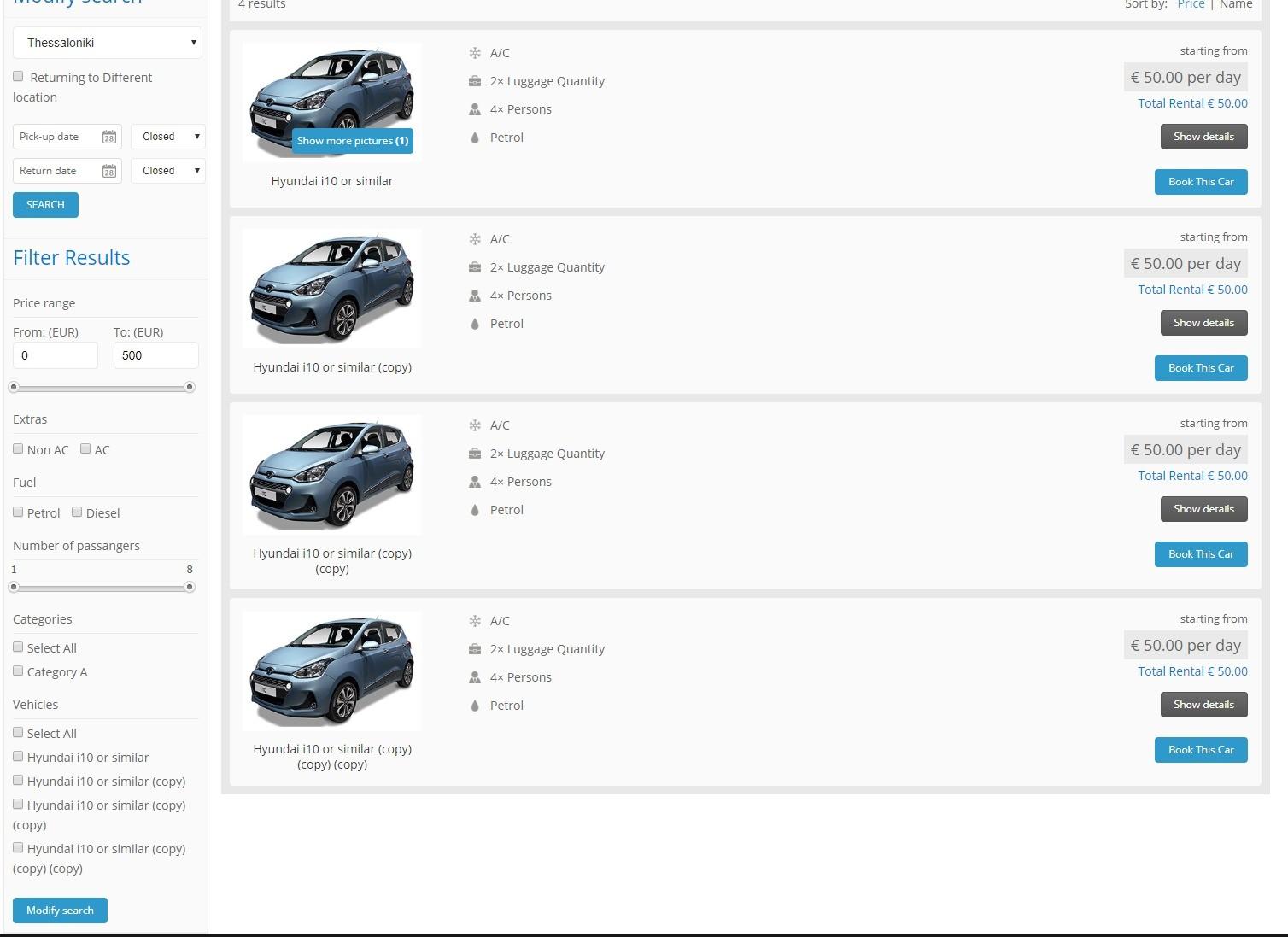 Ιστοσελίδα Car rental 1